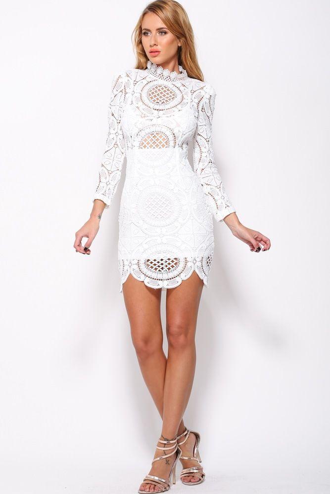 80e8912590722 Lace High Neck Long Sleeve Short Bodycon Dress   Style Envy ...