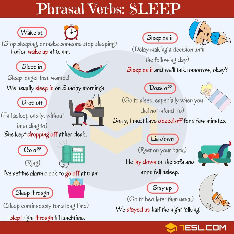 Sleep Vocabulary 12 Common Sleep Phrasal Verbs With