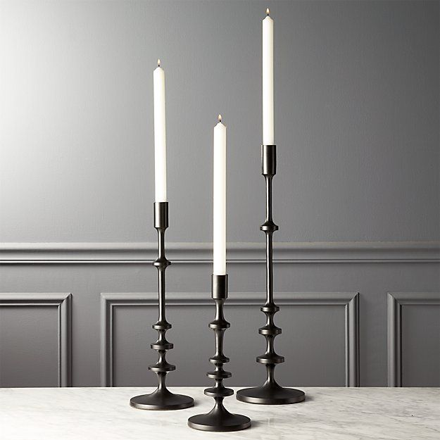 Allis Black Taper Candle Holders Set Of 3 Reviews Cb2 Black Taper Candles Taper Candle Holders Black Candle Holders