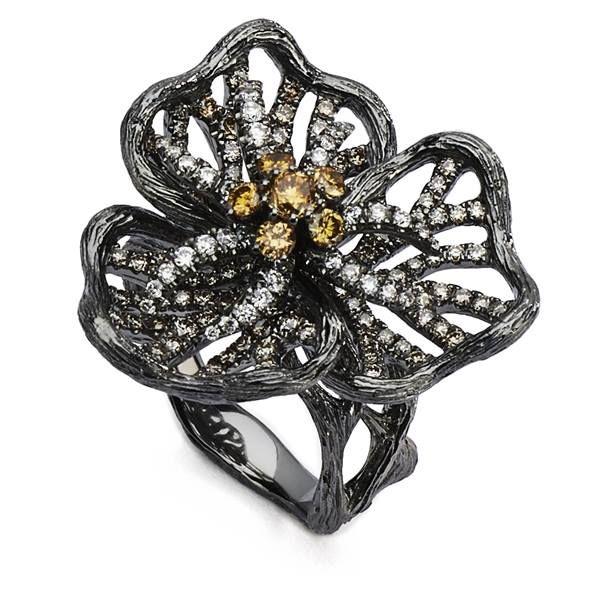 Supreme Jewelry black rhodium diamond ring, LUX611