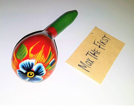 Vintage Hand painted Mexican Maracas Vintage Hand by MaxTheFirst