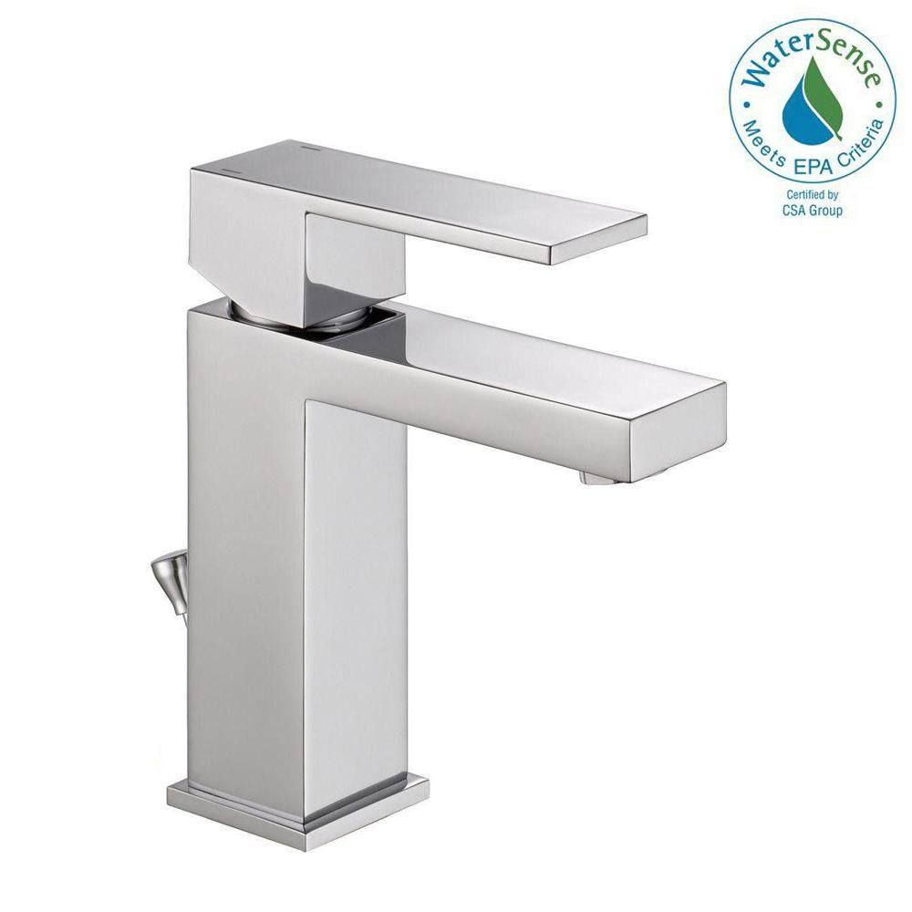 Delta Modern Single Hole Single Handle Bathroom Faucet In Chrome