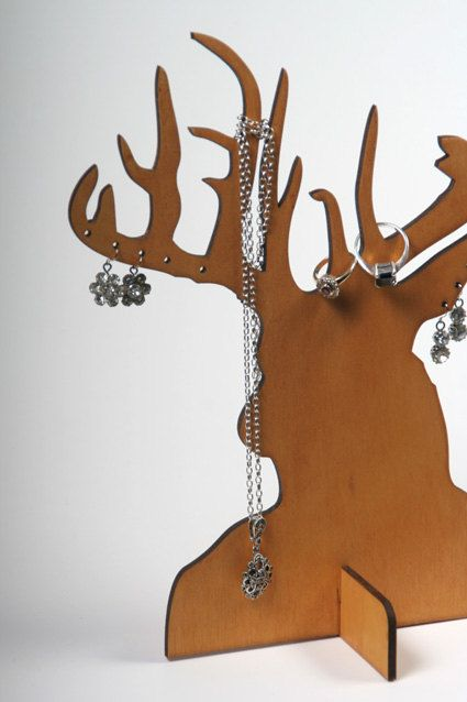 Laser Cut Ply Wood Stag Jewellery Stands Kids Stuff