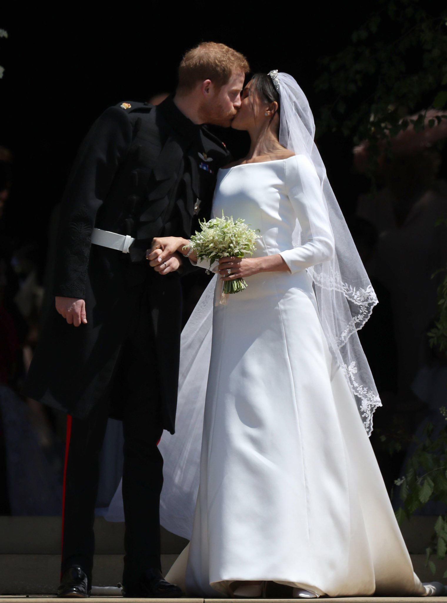 Meghan markle prince harry first kiss as man and wife meghanmarkle
