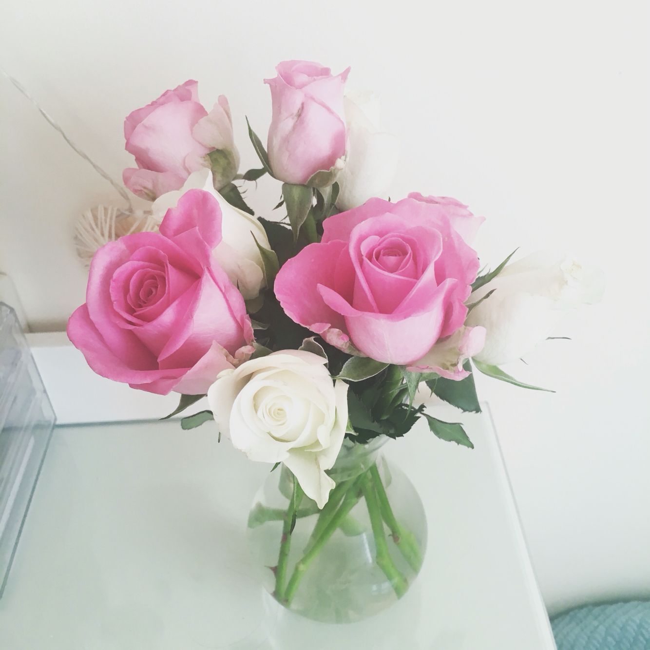 Lovely pink and white roses to freshen up my room