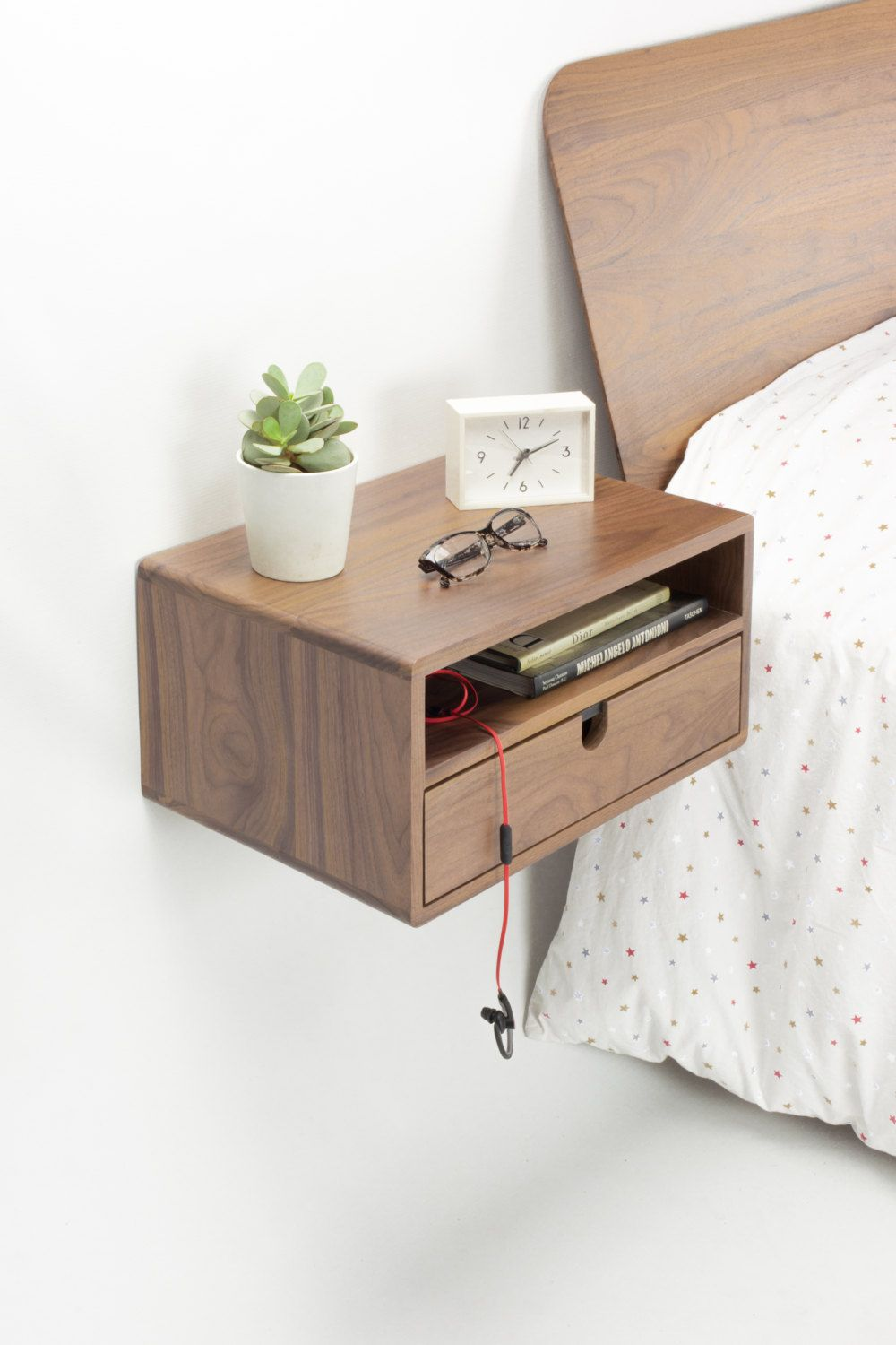 Walnut Floating nightstand bedside table drawer in solid walnut mid ...