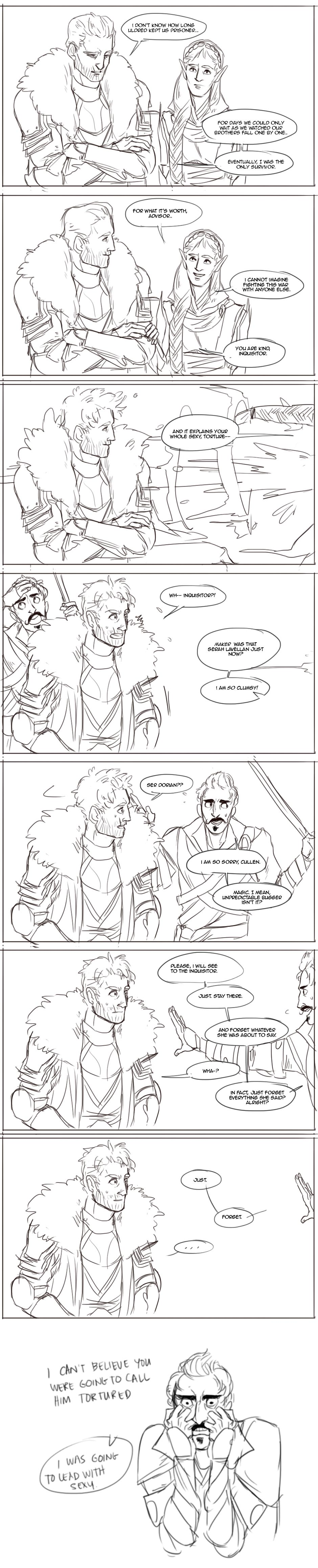 """Dorian would absolutely be your bestie to go """"JUST SHUT UP WHAT ARE YOU THINKING- Oh heeeeeey, Commander!"""" (Cullen x Inquisitor)"""