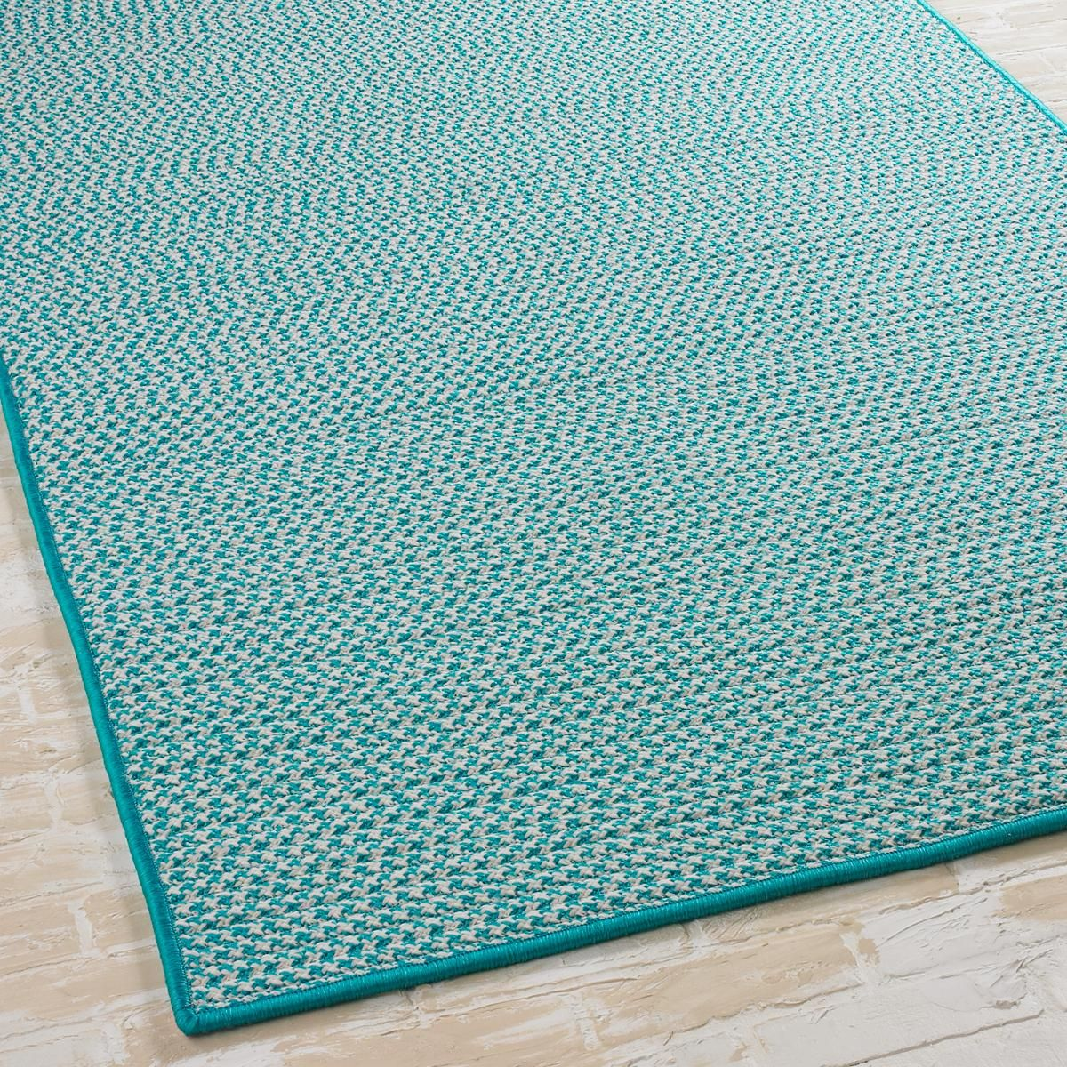 """2'5""""x11' Turquoise Houndstooth Tweed Indoor-Outdoor for stair carpet?"""
