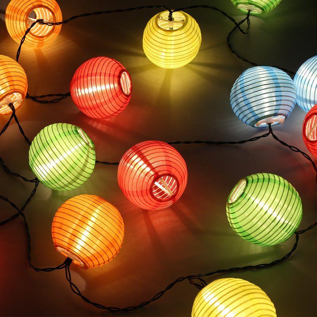 Led Solar Lampion Lichterkette 20er Partylichterkette Deko Fur Innen Aussen Balkon Garten Party Feiertag Kugeln X2f Balle Lampion Lichterkette Led Lichterkette