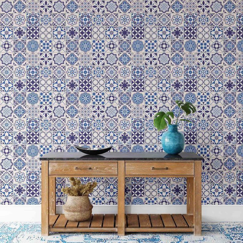 Boho Wallpaper Moroccan Tile Peel And Stick Wallpaper Etsy Boho Wallpaper Peel And Stick Wallpaper Moroccan Tile