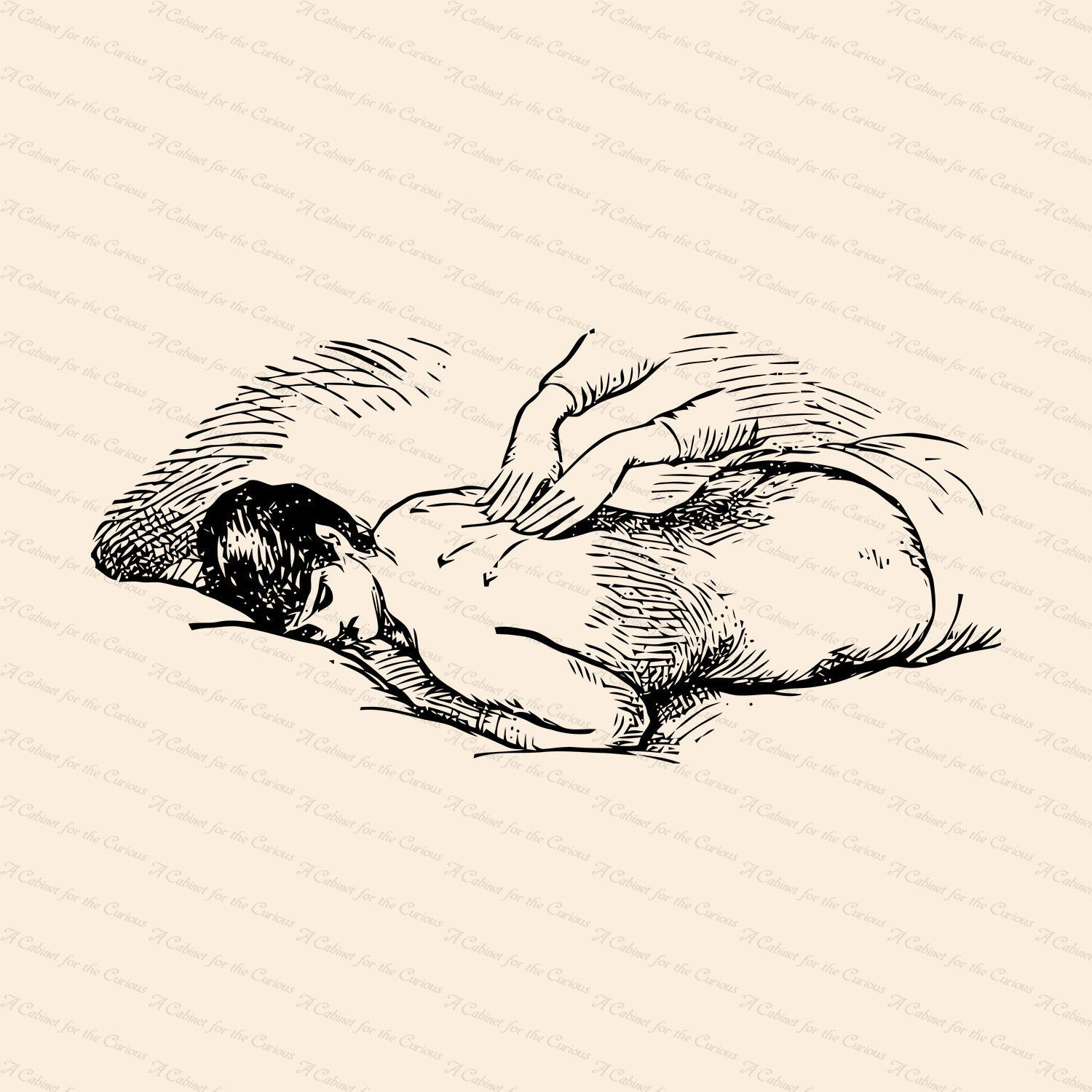 Vintage Edwardian Back Massage Therapy Vector Clipart