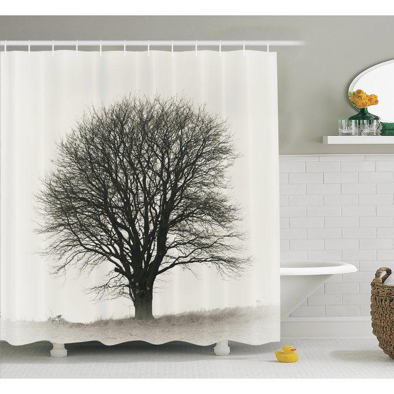 Fall Tree Monochrome Art Shower Curtain Set Tree Shower Curtains