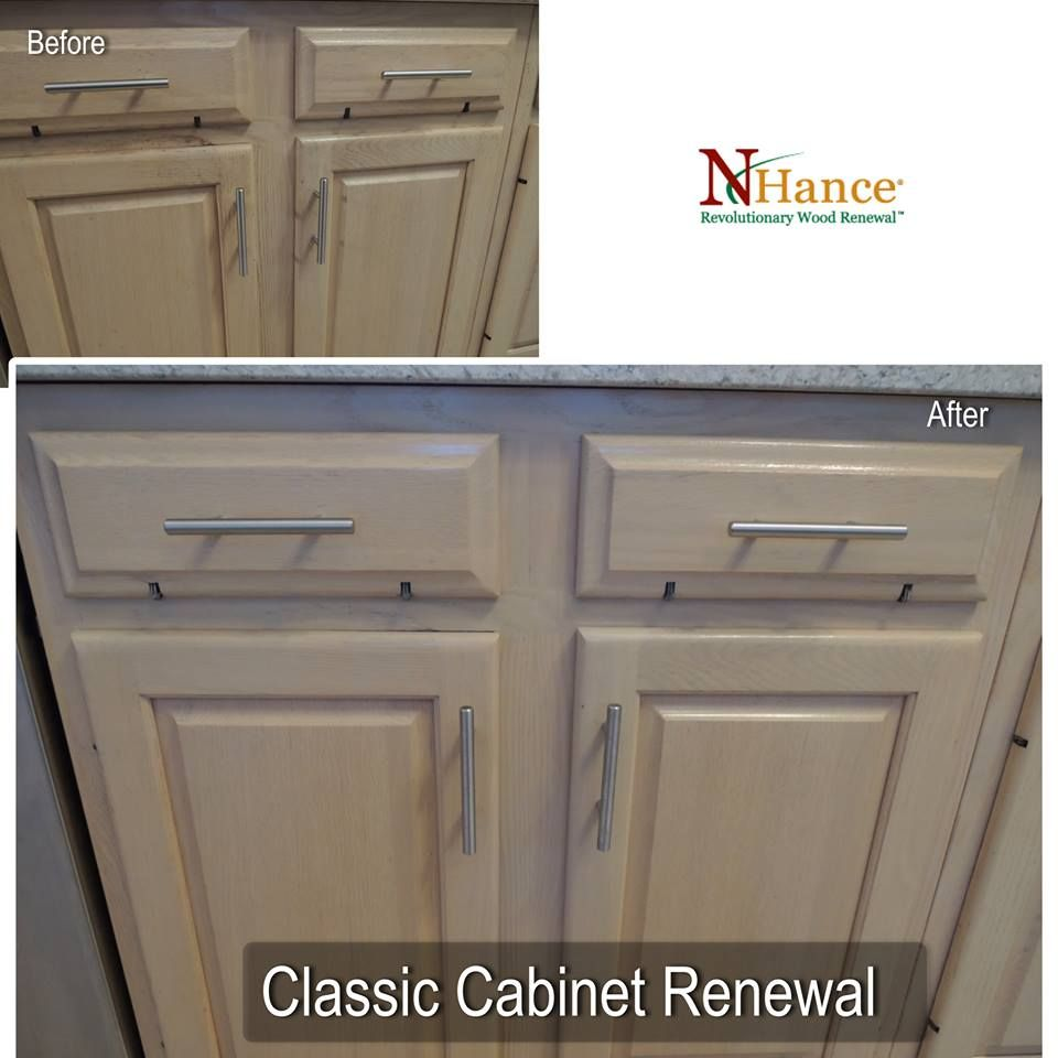 """UPDATE OAK CABINETS GRAND RAPIDS.  CALL N-HANCE WOOD RENEWAL 726-7368  N-Hance Wood Renewal completed a Classic Renewal this week for a couple who live in Kentwood. Their house is approx 20 years old and the cabinets are a pickled oak finish that was very popular in the 1990's. They called N-Hance when they learned how expensive it was going to be to replace or re-face the cabinets. N-Hance Wood Renewal is able to """"renew"""" the cabinets for a fraction of the cost.  https://goo.gl/A8P9Iz"""