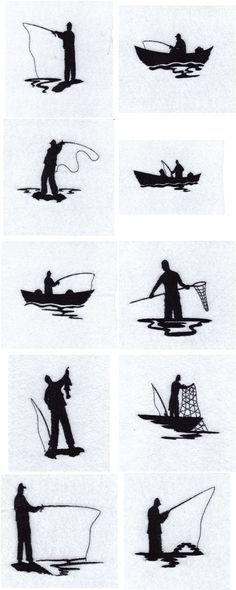 Fisherman Silhouette Fisherman Silhouettes Embroidery Machine Design Details Fish Silhouette Machine Embroidery Patterns Embroidery Designs