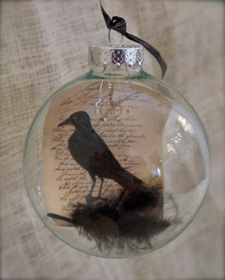 Raven Globes - easy 5 minute Halloween DIY maybe Poe ornament for - halloween decoration printouts