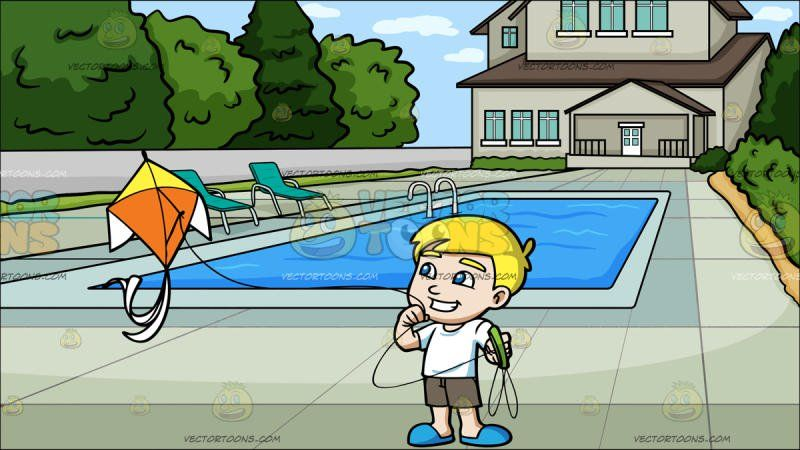 A Delighted Boy Flying A Beautiful Kite At A Backyard Pool:   A boy with blonde hair wearing a white shirt gray shorts and blue slippers grins as he flies a orange and yellow kite attached to a long string with a green handle. Set in a pool with cool blue water located at the backyard of a two floor house with brown roof and beige walls two teal loungers are placed on the pool side with its area surrounded by big shrubs.