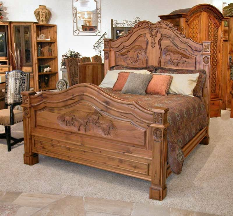 King Bed - French Western Bed - Teak Wood Carving Furniture