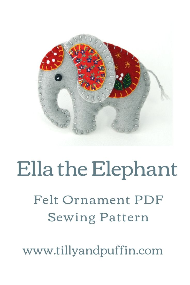 Felt elephant ornament PDF sewing pattern