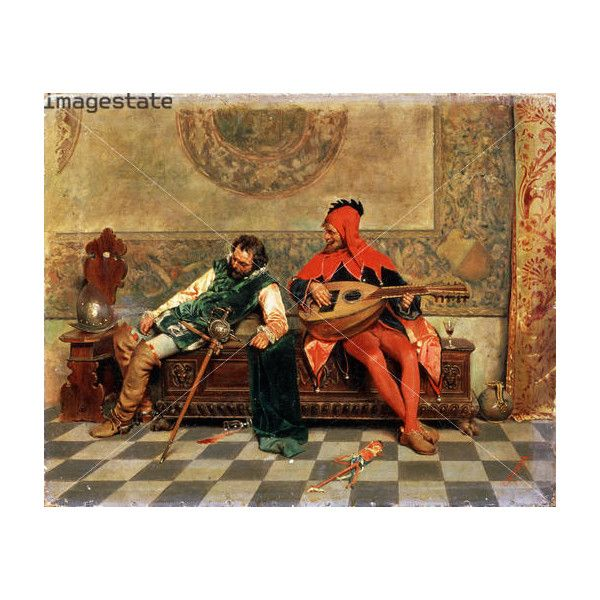 'Drunk Warrior and Court Jester', Italian painting of 19th century. found on Polyvore