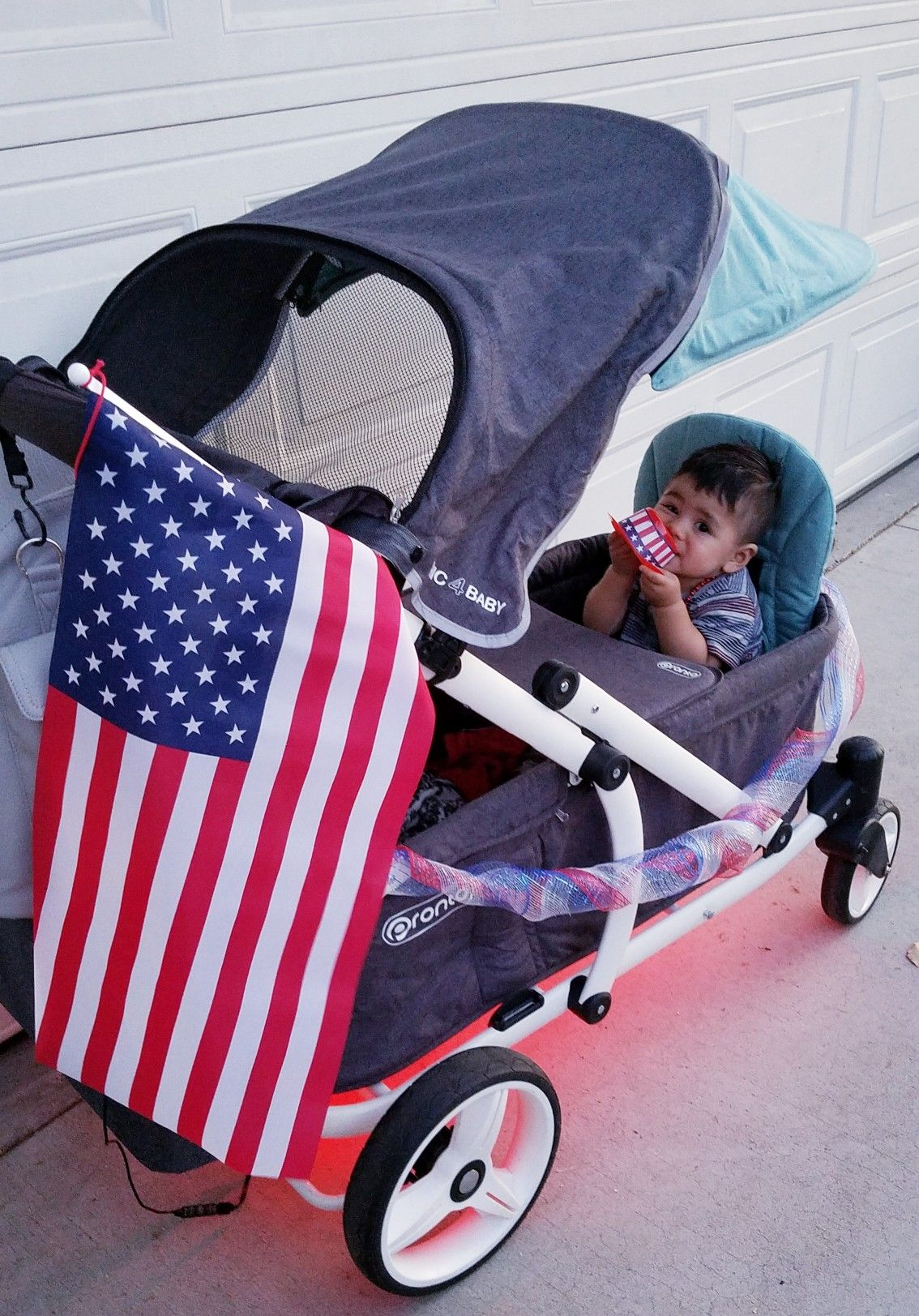 Fourth of July in the Pronto stroller. With LED lights