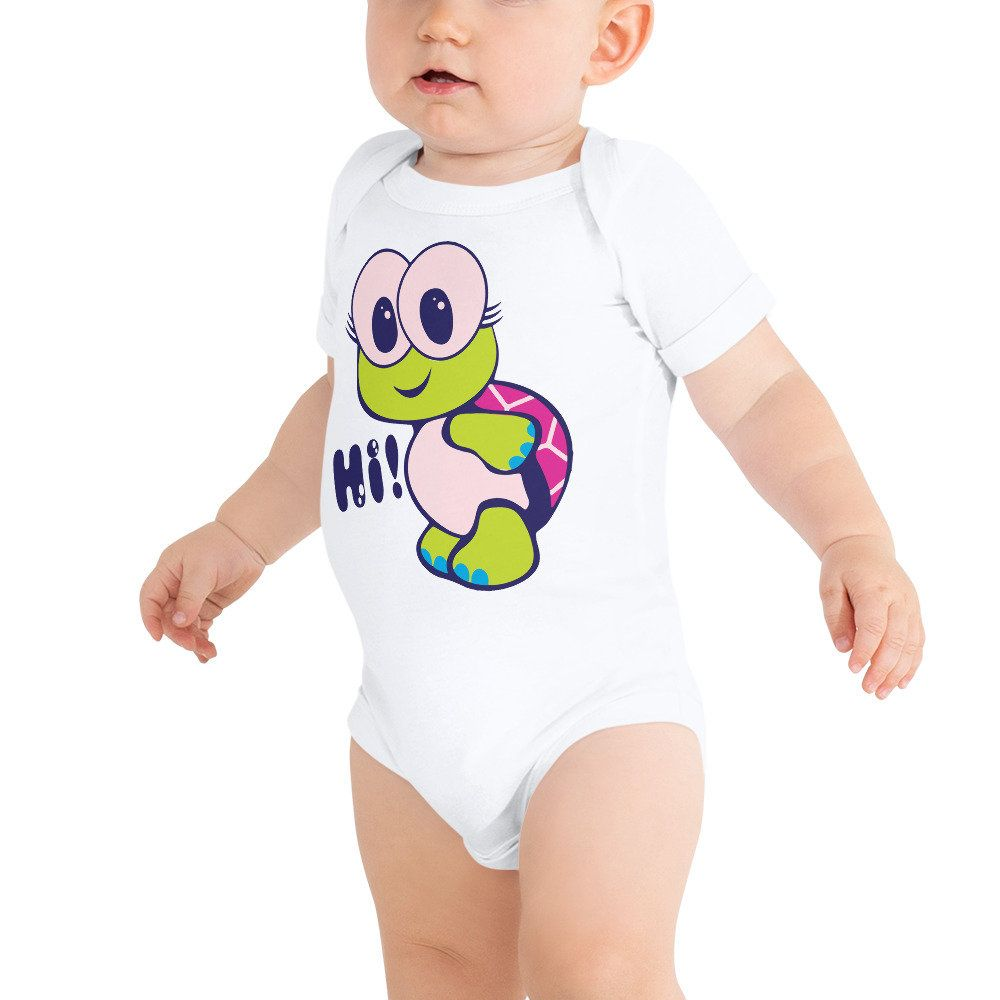 100/% Cotton One Piece Baby Bodysuit Baby Turtle Screen Printed Baby Grow
