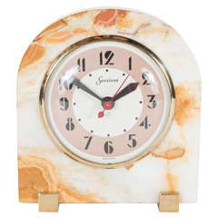 Outstanding Art Deco Exotic Onyx Clock by Sessions with Brass Mounts