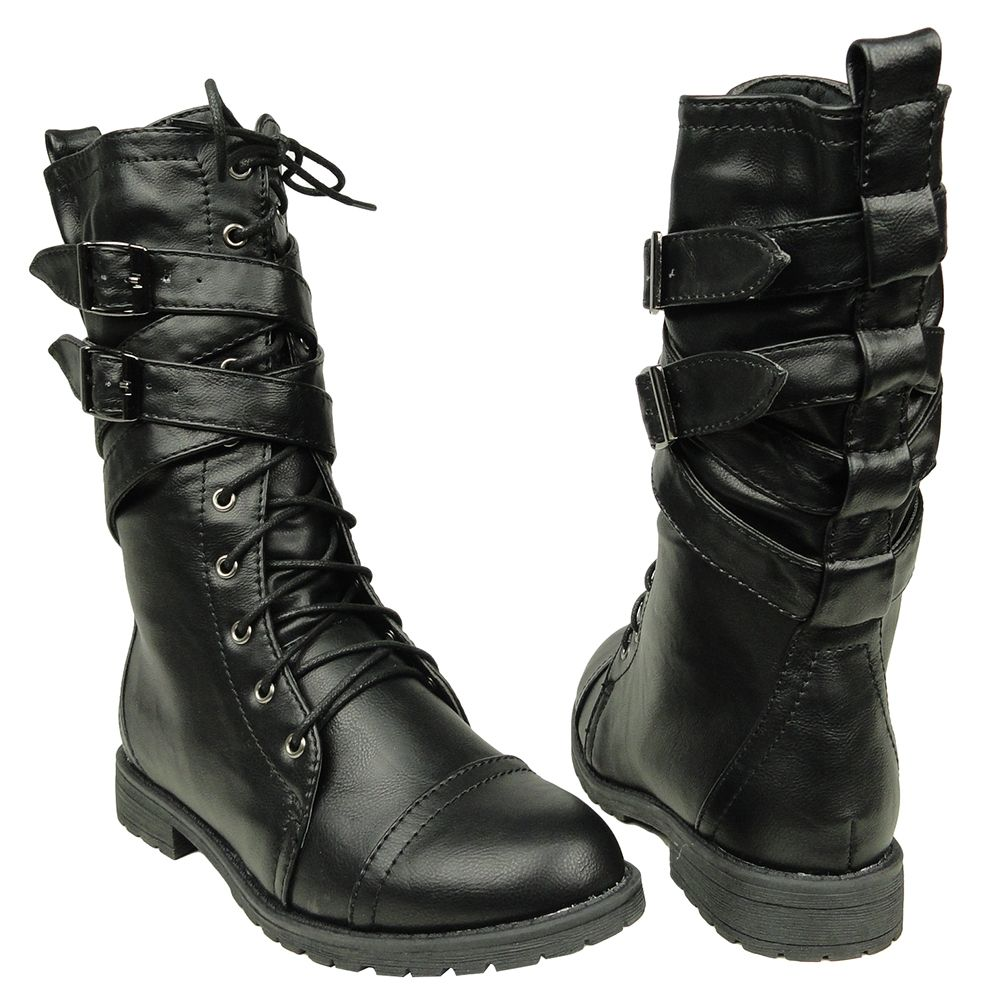 Ankle Bootie Cross-Strap Bucke Casual Lace up Short Combat Winter Boots For Women