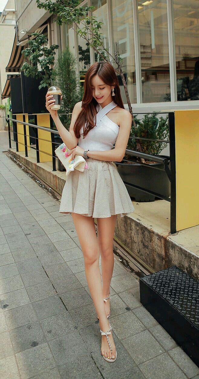 5056d4b6b4e2ac Cute and Sexy. Korean Girl, Korean Style, Korean Model, Pleated Mini Skirt  ...