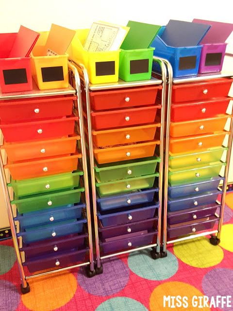 f4db02cf1d5 Rainbow drawers cart on wheels is perfect for classroom organization to  store reading centers, math centers, or anything students use - I love  these!