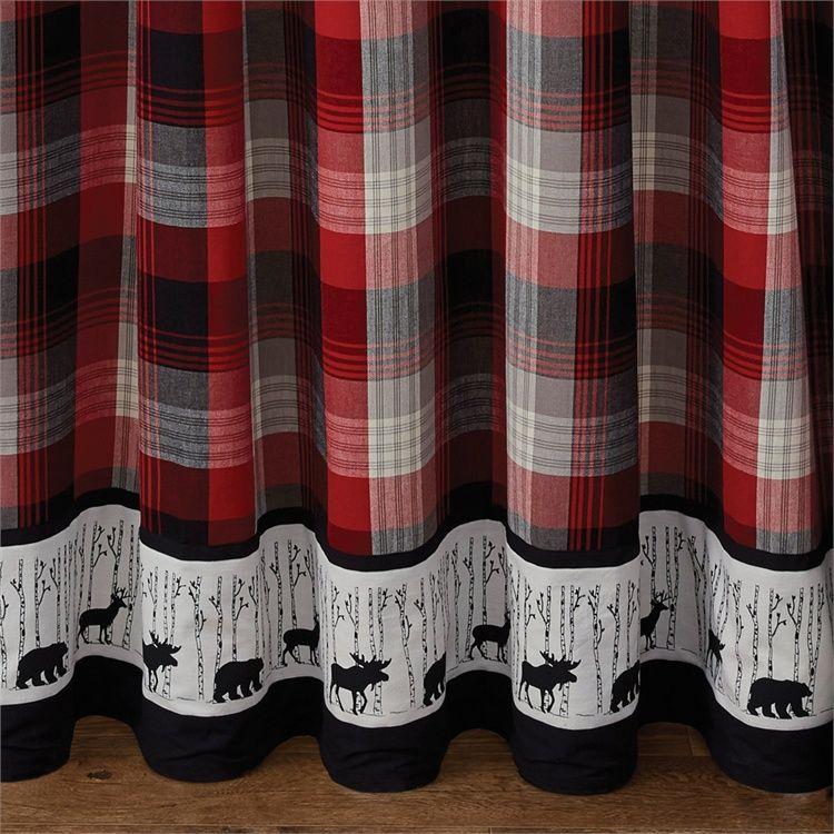 Champlain Deer Moose Bear Bordered Shower Curtain 72 X 72