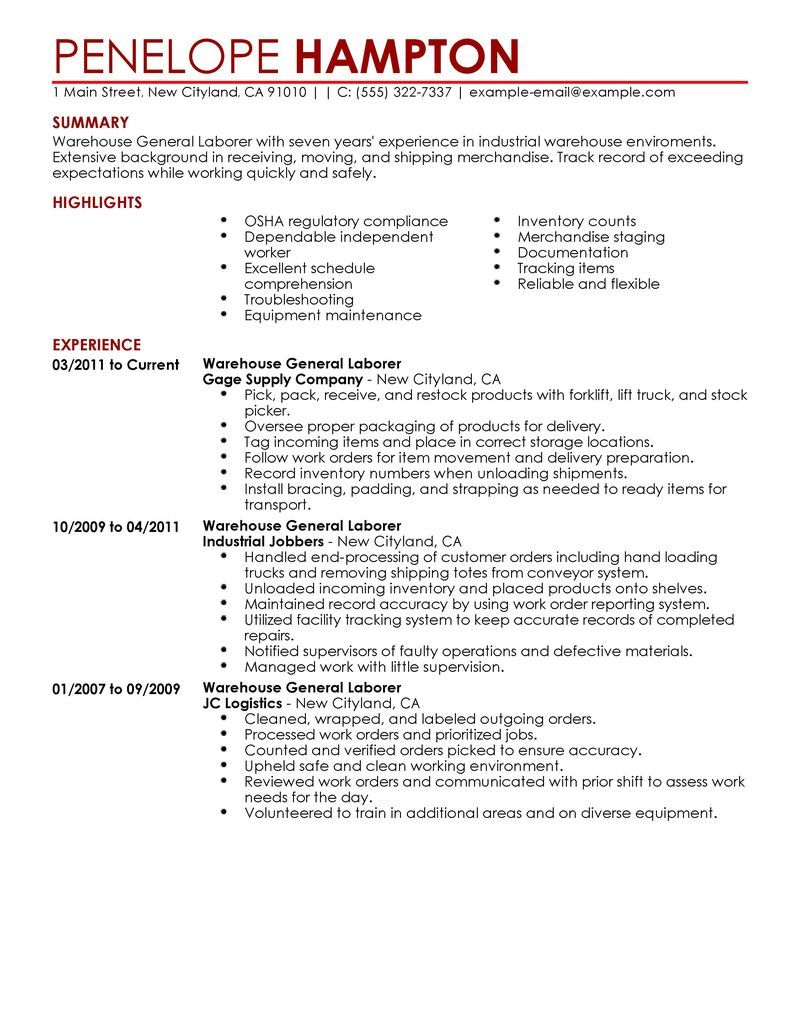 Sample Warehouse Resume General Labor Resume Example Production Sample Resumes Livecareer