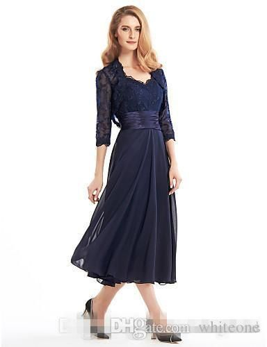 ba4278e823322 The cheap custom made tea length mother of the bride groom dress with jacket  long sleeves navy blue lace plus size ...