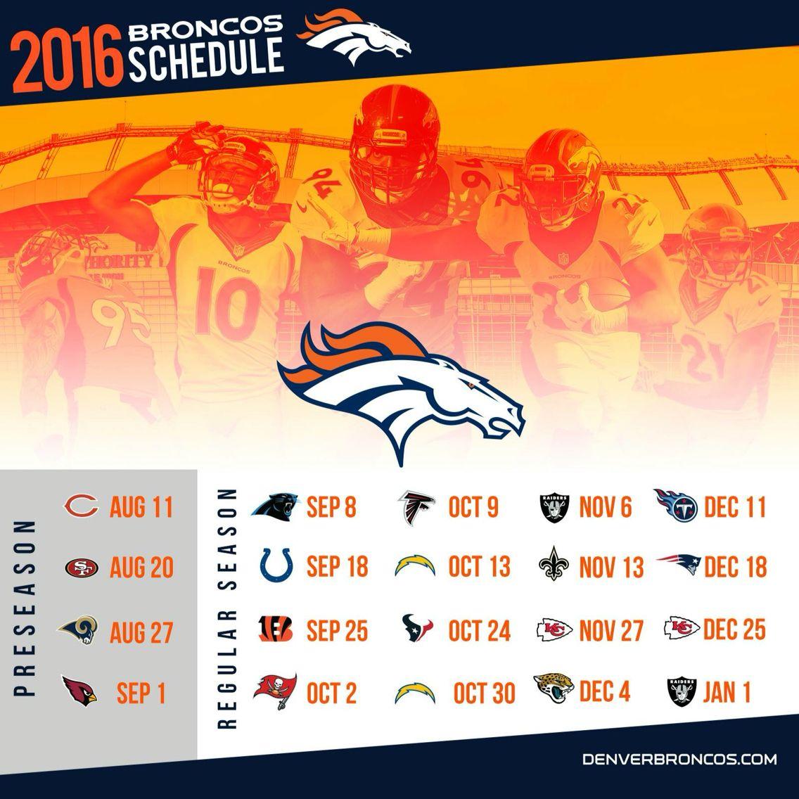 Denver Broncos Schedule: Denver Broncos 2016-2017 Football Schedule.
