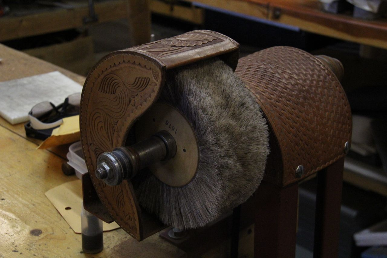polishing and burnishing wheel beautifully tooled and formed leather custom cover