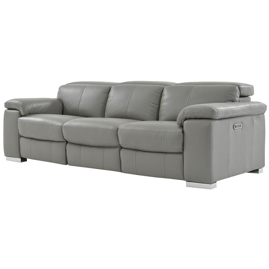 Charlie Gray Power Motion Leather Sofa El Dorado Furniture