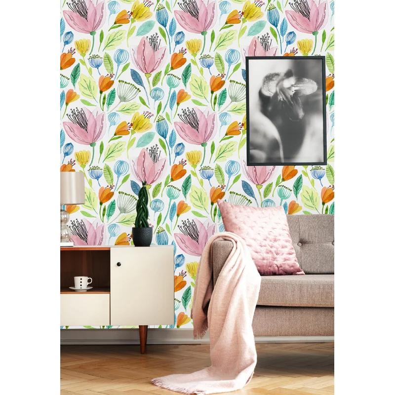 Cute Watercolor Flowers Paintable Wall Mural In 2021 Removable Wallpaper Wall Murals Wall Wallpaper