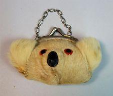 """Vintage Fur """"Koala Bear"""" Child's Purse w Chain."""