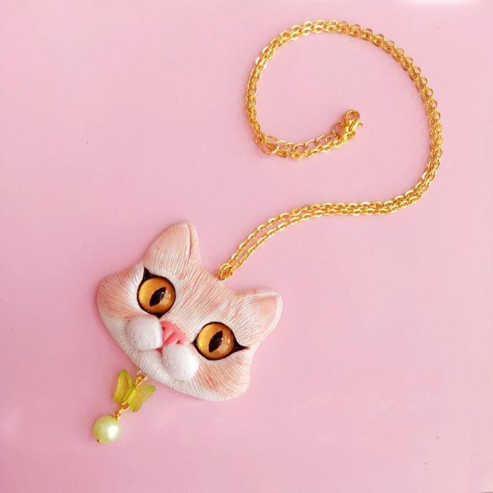 Pet Portrait Cat Necklace By Fleurdelapin Kawaii Jewelry Portrait Necklace Cat Necklace