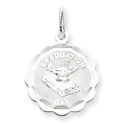 Beautiful Sterling silver 925 sterling Sterling Silver Rhodium-plated On Graduation Day Disc Charm