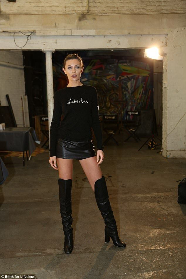 8937d09e69 Pregnant Abbey Clancy flaunts legs in thigh-high boots for BNTM ...