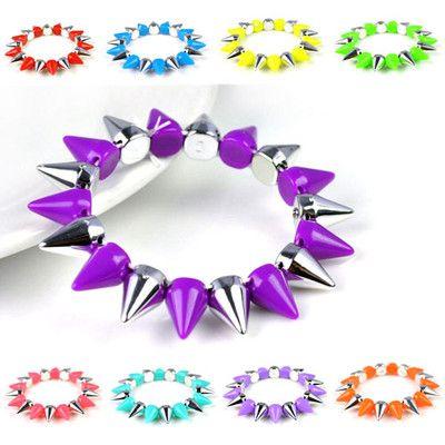 Colorful Spike Stud Acylic Strechable Bracelet