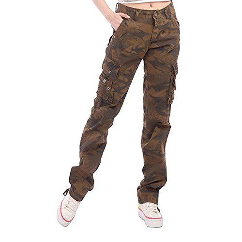 d4916270fa61 Rope-Belted Backpackers Cargo Pants 45038 - 100% Cotton Tough Durable Ladies  Combats, Small/10 Coal Black