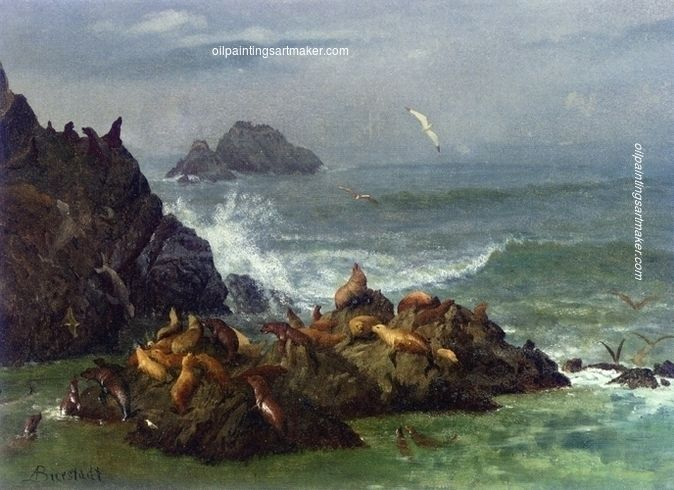 Albert Bierstadt Seal Rocks, Pacific Ocean, California, 1872 painting for sale paypal payment, painting