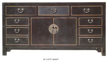Bloack Asian Buffet Table | Chinese Solid Elm Wood Moon Face Black Buffet  Table Console Cabinet