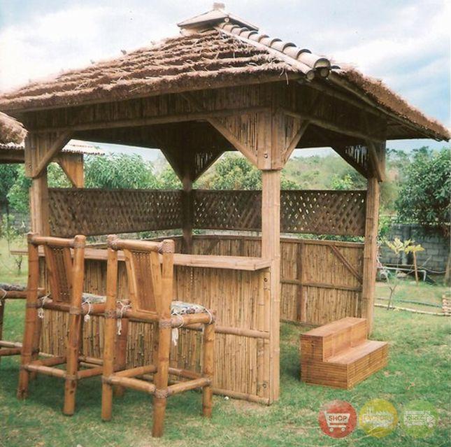 bamboo spa hot tub enclosure 9 ft x 9 ft cogon roof - Hot Tub Enclosures