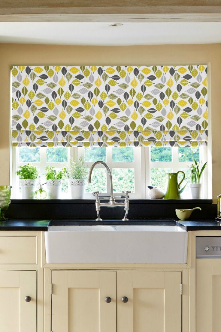 Bring the outside in with our beautiful Rustle Zest Roman blind. Featuring a simple design of green, mustard and black leaves this a perfect choice for a kitchen, or any room overlooking a garden!