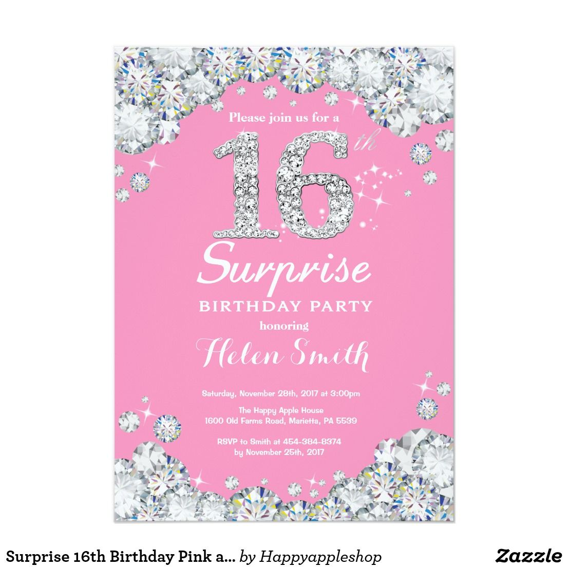 Surprise 16th Birthday Pink And Silver Diamond