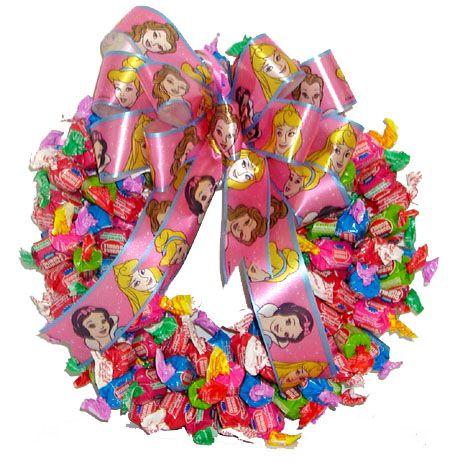 Fruit Dubble Bubble Candy Wreath With Disney Princess Ribbon