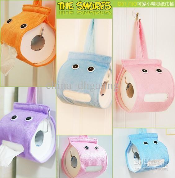 Cartoon Hanging Tissue Holder Dispenser Cover Plush Cloth Toilet Tissue Paper Holder Toilet Paper Paper Towel Tubes