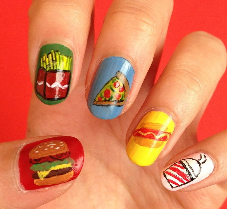 Fast Food Nails | Colorful Summer Nails | Pinterest | Orange nail ...